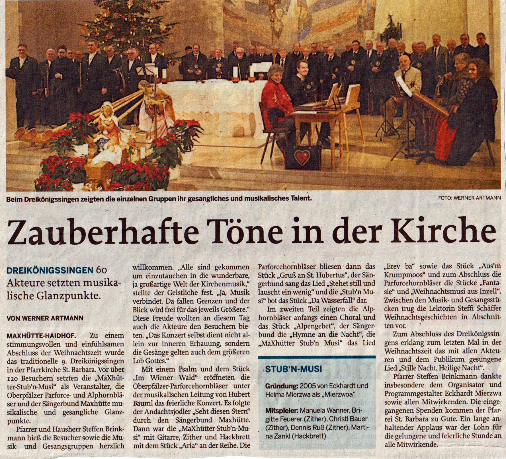 Mittelbayrische Zeitung vom 10. Januar 2020